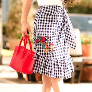 SHEIN ruffle hem grid bow tie skirt